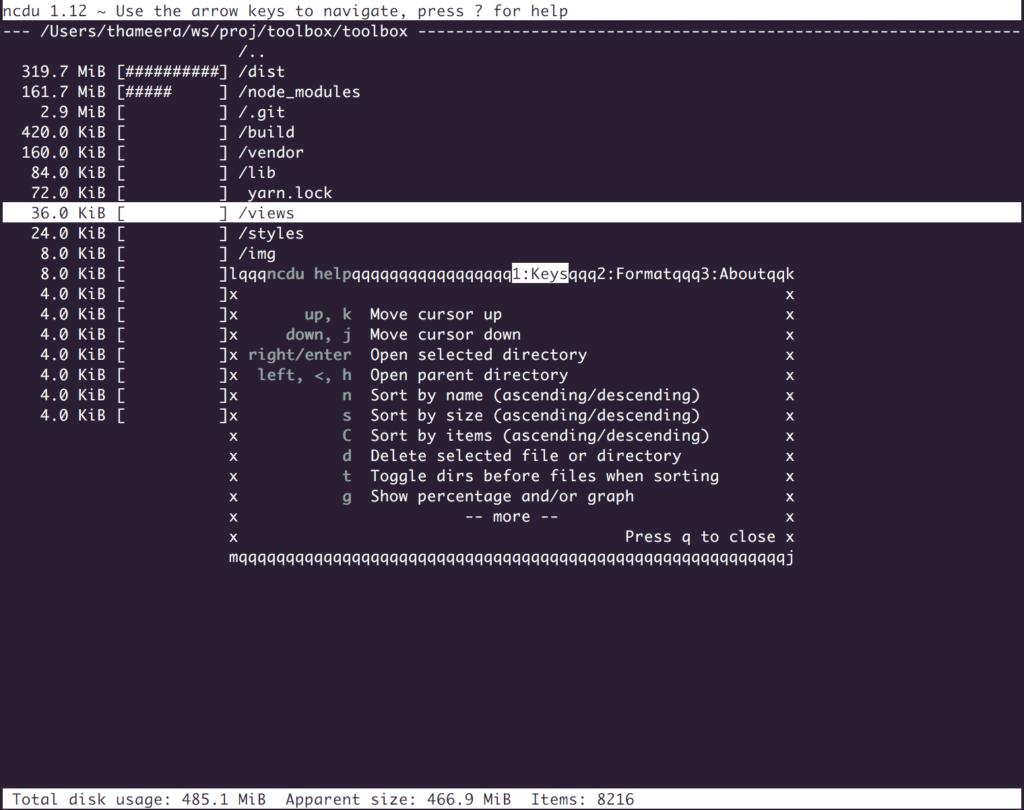 ncdu - ncurses disk usage